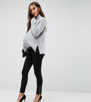 Bandia Леггинсы со вставкой для живота и молнией Maternity. Цвет: черный