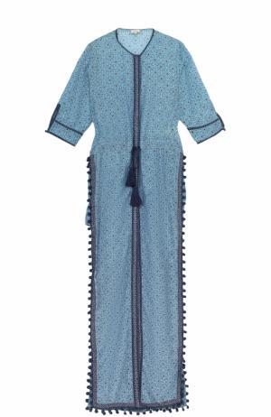 Туника с высокими разрезами и укороченным рукавом Talitha. Цвет: бирюзовый