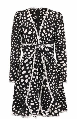 Шелковое мини-платье с принтом Marc Jacobs. Цвет: черно-белый