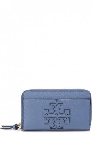 Кожаный футляр Harper для смартфона Tory Burch. Цвет: голубой