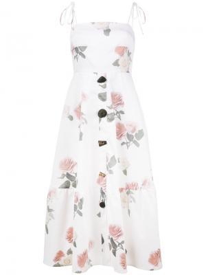 Платье-миди с принтом роз Maria Rejina Pyo. Цвет: белый