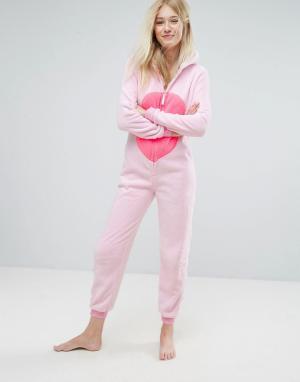 Loungeable Розовый комбинезон Фламинго с 3D-отделкой. Цвет: розовый