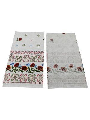 Набор полотенец Рогожка Римейн. Цвет: белый, розовый