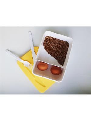 Контейнер для обеда со столовыми приборами (227х155х70)(желтый) Альтернатива. Цвет: желтый