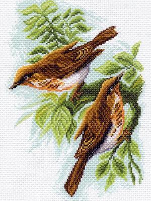 Рисунок на канве Дрозды Матренин Посад. Цвет: коричневый