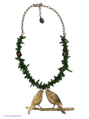 Ожерелье Polina Selezneva. Цвет: зеленый, бордовый, золотистый