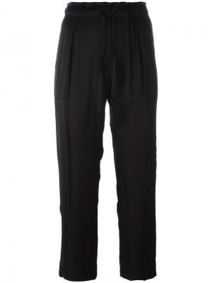 Укороченные брюки на шнурке Raquel Allegra. Цвет: чёрный