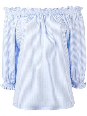 Блузка с открытыми плечами и оборками Xacus. Цвет: синий