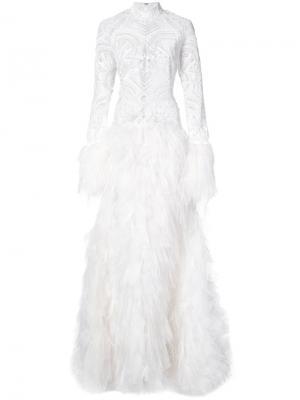 Декорированное вечернее платье Jonathan Simkhai. Цвет: белый