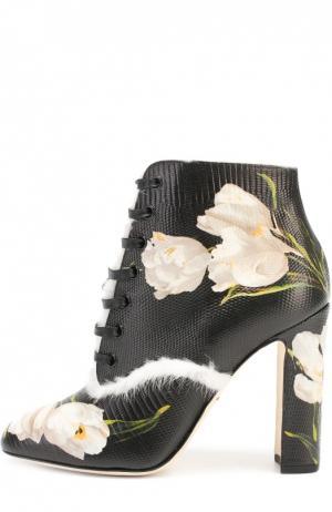 Кожаные ботильоны Vally с цветочным принтом Dolce & Gabbana. Цвет: черно-белый