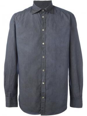 Рубашка с мятым эффектом Massimo Alba. Цвет: синий
