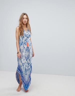 Surf Gypsy Пляжное платье макси с принтом пейсли. Цвет: мульти