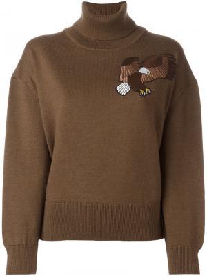 Джемпер с высокой горловиной и вышивкой Each X Other. Цвет: коричневый