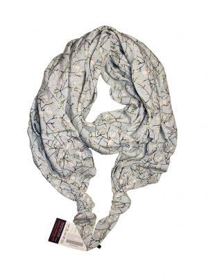 Двойной шелковистый шарф-долька с узелками; серия Апрель Оланж Ассорти. Цвет: голубой, белый