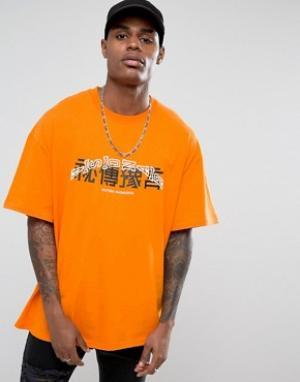 Vision Air Оранжевая оversize-футболка с принтом на груди Visionair. Цвет: оранжевый