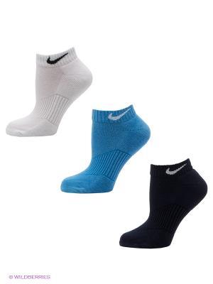 Носки, 3 пары Nike. Цвет: темно-синий, голубой, белый