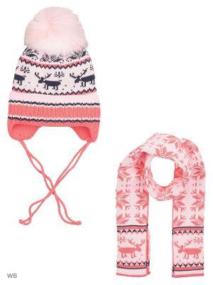 Шапка+шарф MIKIVIKI. Цвет: коралловый, розовый