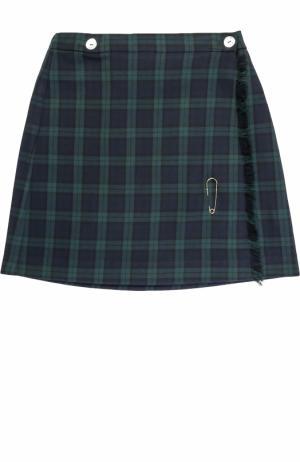 Шерстяная мини-юбка в клетку с бахромой и булавкой Caf. Цвет: синий