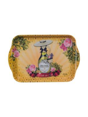 Поднос кухонный 21 х 14 см,  Южная красавица Orval. Цвет: желтый, зеленый, розовый