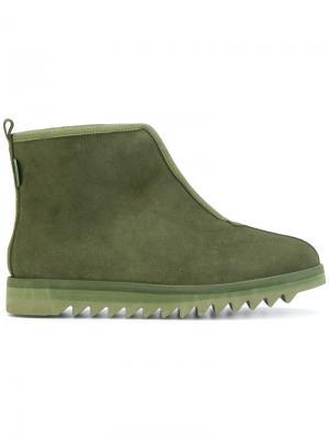 Ботинки на молнии ребристой подошве Suicoke. Цвет: зелёный
