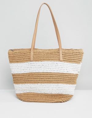 Pia Rossini Соломенная сумка в полоску. Цвет: белый