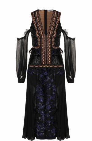 Приталенное платье-миди с открытыми плечами self-portrait. Цвет: черный