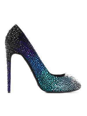 Декорированные кристаллами туфли Rainbow Marco Proietti Design. Цвет: синий