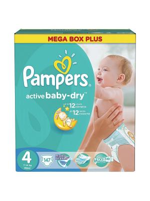 Подгузники Active Baby-Dry 8-14 кг, 4 размер, 147 шт. Pampers. Цвет: зеленый