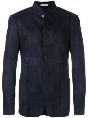 Приталенный пиджак с воротником-мандарин Armani Collezioni. Цвет: синий