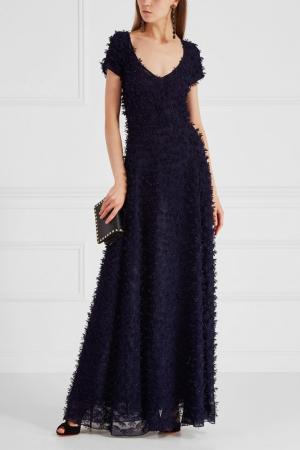 Платье с бисером Alexander Terekhov. Цвет: темно-синий