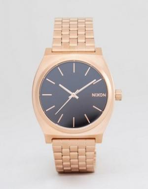 Nixon Золотисто-розовые часы-браслет Time Teller. Цвет: золотой