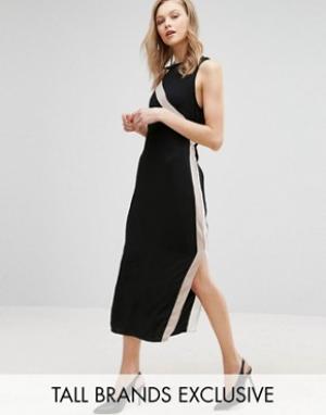 Alter Tall Платье-футляр с полосками сбоку. Цвет: черный