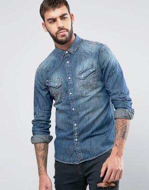 Wrangler Узкая джинсовая рубашка в стиле вестерн. Цвет: синий