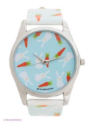Часы Зайки и морковки Mitya Veselkov. Цвет: голубой, белый, оранжевый