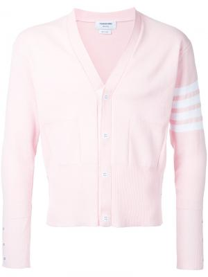 Кардиган с полосками на рукаве Thom Browne. Цвет: розовый и фиолетовый