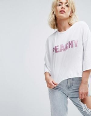 Chorus Свободная короткая футболка Peachy. Цвет: белый