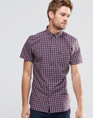 Jack Wills Рубашка классического кроя в клетку с короткими рукавами. Цвет: красный