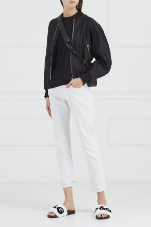 Кожаные слипперы с мехом Dolce&Gabbana. Цвет: белый
