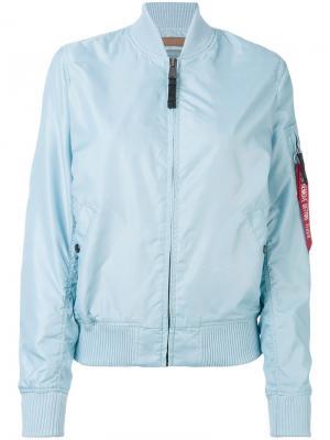 Куртка-бомбер на молнии Alpha Industries. Цвет: синий