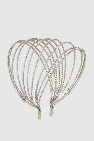 Ободок с кристаллами Louis Mariette. Цвет: серебряный, темно-серый