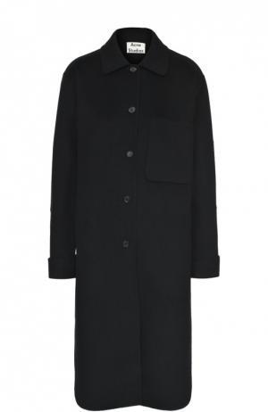 Шерстяное пальто прямого кроя с накладным карманом Acne Studios. Цвет: черный