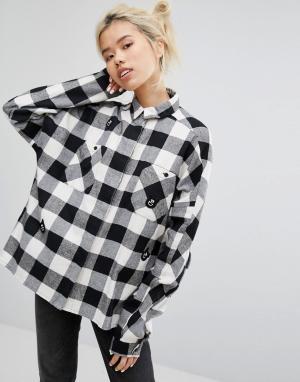 Lazy Oaf Рубашка в клетку со сплошной отделкой виде медведей. Цвет: черный