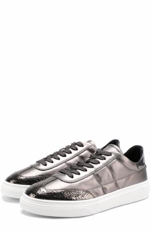 Стеганые кеды из металлизированной кожи на шнуровке Hogan. Цвет: темно-серый