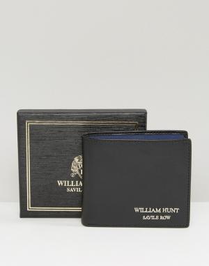 William Hunt Синий кожаный бумажник. Цвет: черный