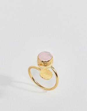 Ottoman Hands Кольцо с розовым кварцем. Цвет: золотой