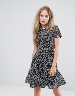 Supertrash Платье с вышивкой Denon. Цвет: темно-синий