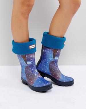 Hunter Синие толстые носки Original. Цвет: синий