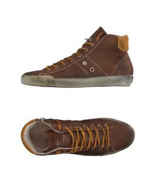 Высокие кеды и кроссовки LEATHER CROWN. Цвет: какао