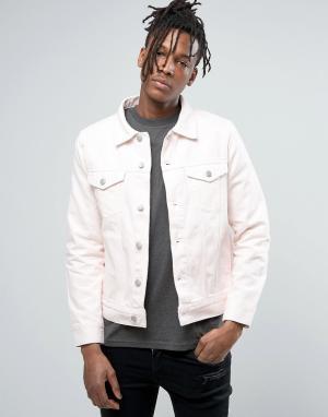 Weekday Розовая джинсовая куртка. Цвет: розовый