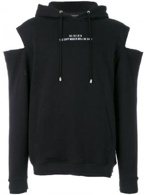 Cut out hoodie Icosae. Цвет: чёрный